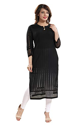 Chikan Kurta - Queenshield Chikankari Kurtis for Women Cotton Chikan Kari Kurta Kurti Indian Dress for Girls Ladies - Black