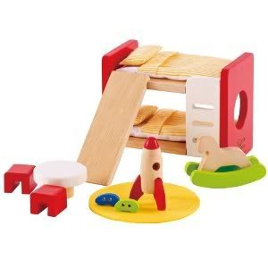 Hape Children S Room With Bunk Beds Play Table Chairs And A Rocket