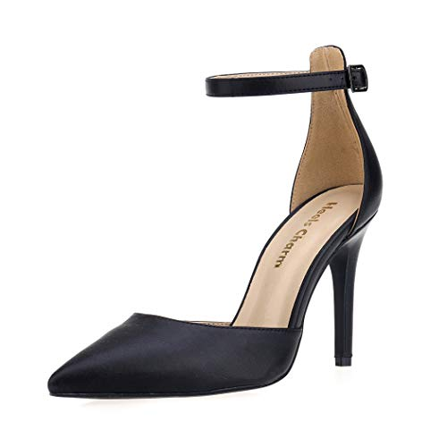 Women's Heel Pumps Stilettos Pointed Toe High Heel Dress Pump Shoes with Ankle Strap Ribbon Black Size 10