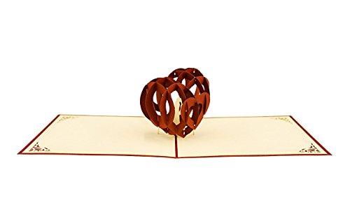 L03 Einladungskarte, Glückwunschkarte Hochzeit I Herz I Verliebt I Aufwändige Pop Up Karte