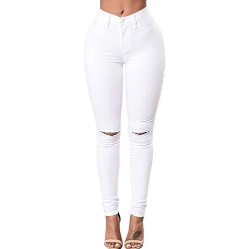 Ajustados Cortada Sólido amp;CLOTHES Muchos La Vaqueros Colores Las L De De Mujeres Color De Pantalones White Pantalones DD Rodilla 6v1Iqw4q