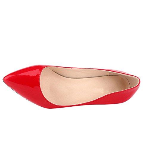 OCHENTA Mujer de color del caramelo punta estrecha mediana de tacon zapatos de la bomba de la PU Rojo