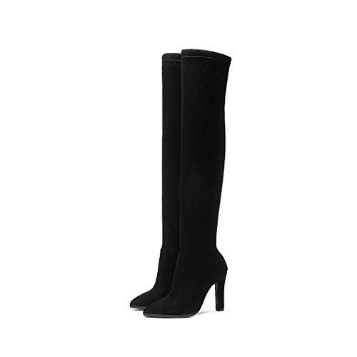 Donna Moda Wetkiss Knee The Over Stretch Tacco Alti Boots Stivali Alto Nero Trend Scarpe EATwTqg