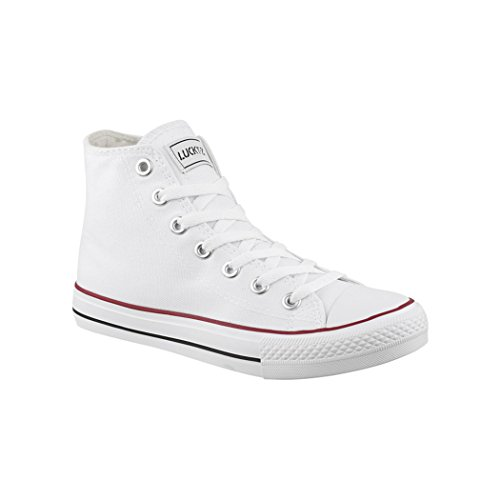 Elara Unisex Sneaker | Sportschuhe für Herren Damen | High Top Turnschuh Textil Schuhe Weiß