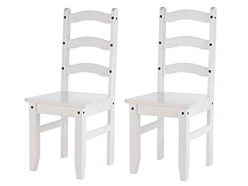 LifeStyleDesign 6010519, Set di 2 sedie Alfredo, ciascuna 107 x 50 x 45 cm, Legno di Pino Massiccio, Bianco (Weiß ) Bianco (Weiß)