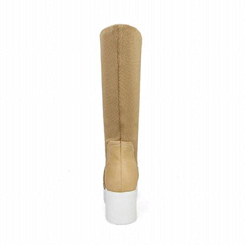 Taille De Larbre De Botte Réglable Latasa Womens Taille (mi-mollet Et Haut Haut) Chunky Mi-talon Plate-forme Bottes Brun Jaunâtre