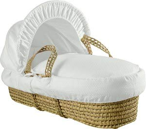 Clair de Lune Cotton Dream Palm Moses Basket with Rocking Stand - White