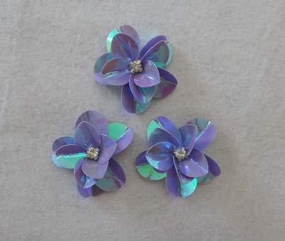 (Lace Crafts - 10 Pcs/Lot Mini Flower Sequined Clothes lace Patch Pants Dress Applique Beaded Collar Wedding Shoes Hats sew DIY Accessories - (Color: D Purple))