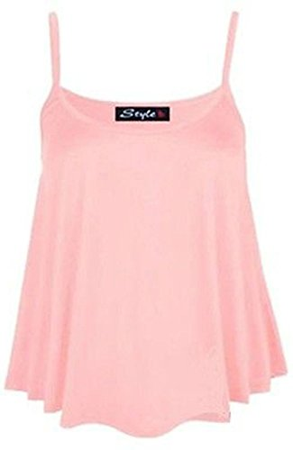 B&S Trendz - Top sin mangas para mujer talla grande (36-54), monocolor rosa pastel