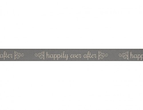 (15mm Bowtique Happily Ever After Print Natural Ribbon 5m Grey - per 5 metre roll )