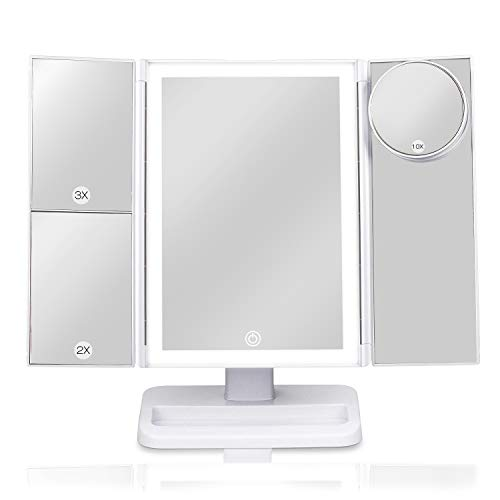Lighted Vanity Makeup Mirror with 38 LED lights, Tri-Fold Mirror 2X/ 3X/ 10X Magnifying with Touch Screen Lighting Control, Portable Cosmetic Makeup Mirror, Dual Power Supply, 180° Free Rotation