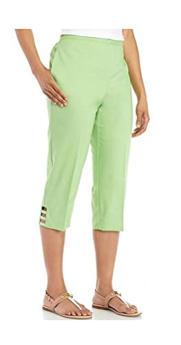 Alfred Dunner Womens Turks & Caicos Pull On Petite Capri Pants (10 Petite, Lime) ()