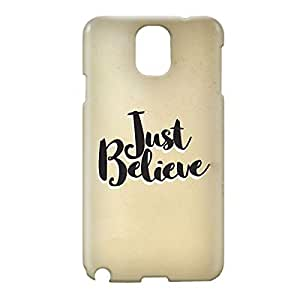 Loud Universe Samsung Galaxy Note 3 3D Wrap Around Just Believe Print Cover - Beige
