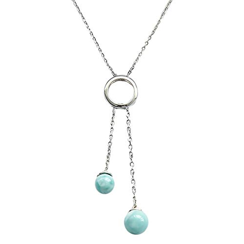 Tuoke Larimar Pendant Necklace 14K White Gold Plated Silver Natural Genuine Fashion Gemstones Handmade Larimar Women Jewelry Classic Necklace with 18
