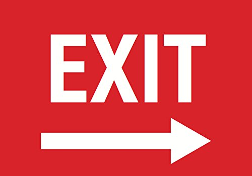 Exit Right Arrow Red Sign - Door Directional Signs - Plastic 4 Pack (Directional Arrow Right)