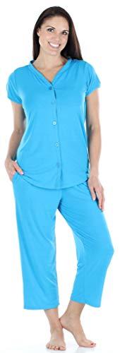 PajamaMania Women's Sleepwear Stretchy Knit Short Sleeve Button Up Top and Capri Pant Pajama Set (PMR1923-2018-SML)