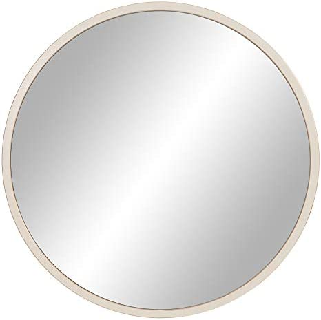 """30"""" Distressed White Metal Framed Round Wall Mirror"""
