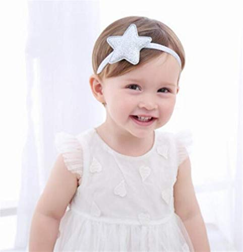(Aidou Boutique Girls Hair Band Fashion Pentagram Hairband Girl Headbands for Baby Decorations (Silver Color))