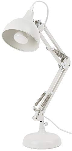 BRUBAKER Lampara de escritorio metalica clasica - con brazo articulado regulable en altura - hasta 53 cm de altura - blanco