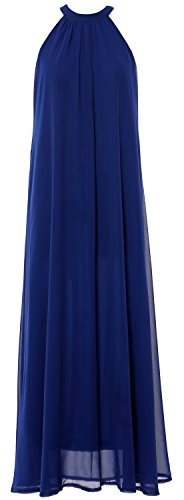 MACloth Women Sleeveless Halter Chiffon Long Evening Gown Formal party Dress Azul Real