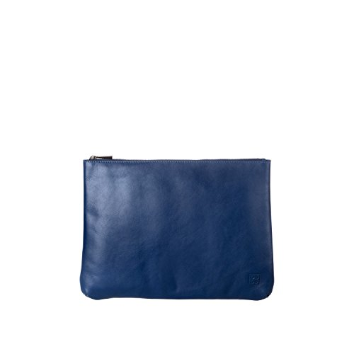 DUDU Clutch Bag Purse with Handle for ladies and men in Real Leather Slim & Large Handbag with Zipper closure - Isa - Blue by DuDu