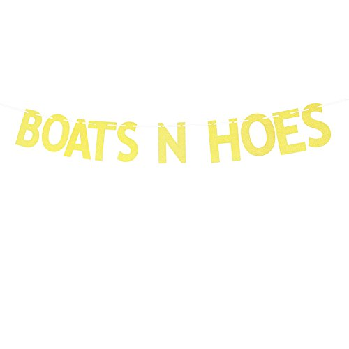 Gold Glitter Boats N Hoes Banner, Funny Nautical Theme Destination Party Decoration Sign Bunting Garland Photo Booth Props For Wedding, Engagement, Bachelorete Party, Birthday, Bridal Shower - Funny Banner