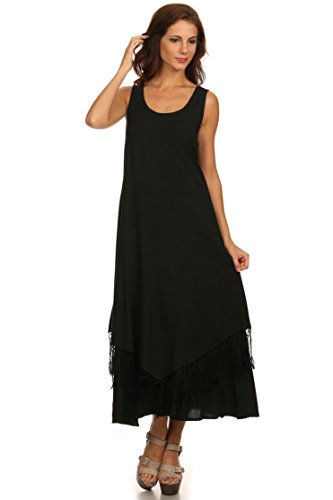 Sakkas 15222 - Emma Relaxed Fit Scoop Neck Double Layered with Fringe Tank Dress - Black - 3X/4X