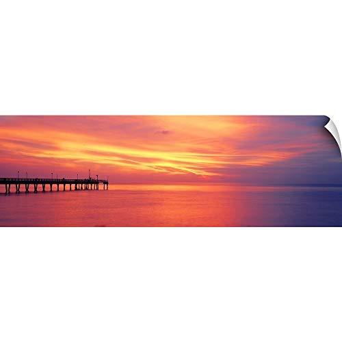 CANVAS ON DEMAND Pier in The Ocean at Sunset, Caspersen Beach, Sarasota County, Venice, Florida Wall Peel Art Pr.