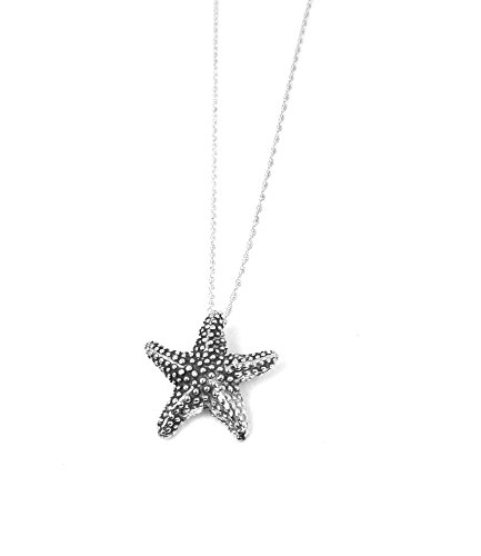 Starfish Necklace Sterling Silver Sea Star Charm Jewelry Ocean Life Nautical Pendant (16 Inches)