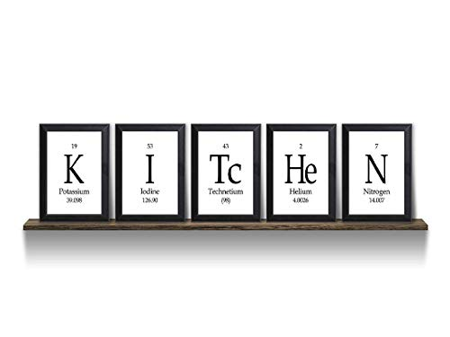 (Kitchen Periodic Table Framed 5 Piece Wall Plaque Set)