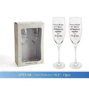 Personalised Vintage Lane Wedding Day Mr Mrs Mrs Champagne Glasses Flutes - add your own message