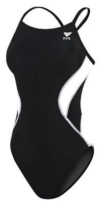 TYR Adult Alliance Diamond Back Splice Swimsuit, Black/White, - Triathlon Swimwear