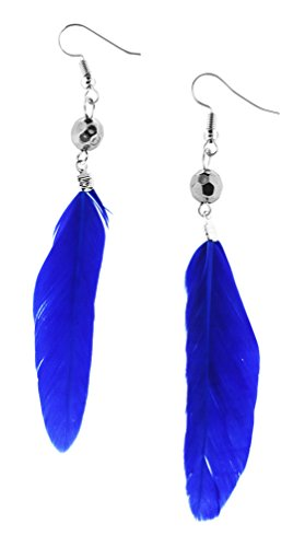 Disco Ball Girl Costume (Unique Cute Beaded Feather Earrings Sexy Fashion Jewelry for Women Teens Girls (Disco Ball Blue))