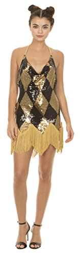 Underboss Suicide Squad Harley Quinn Sequin Chemise Costume Dress with Fringe (Adult Large)]()
