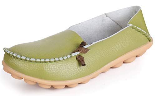 LabatoStyle Women's Genuine Leather Flats Casual Moccasin Driving loafers Shoes (Green, 10 B(M) US)