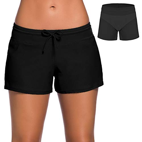 ChinFun Board Shorts Women's Swimswear Tankini Swim Briefs Side Split Swimsuit Bottom Waistband Stretch Boardshorts Beach Trunks Inner Lining Black Size ()
