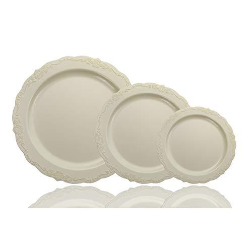 60 Pcs Disposable Plastic Bowls | Victorian Design Premium Disposable Bowls | 12 oz. Bowl Cream China Like Plastic Bowls For Parties & Weddings ()