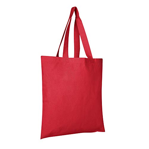 BagzDepot 12 Pack Durable Cotton Canvas Reusable Blank 15inch x 16inch Standard Size Grocery Plain Tote Bags with 21 inches Supportive Fabric Handles No Bottom Gusset - Red