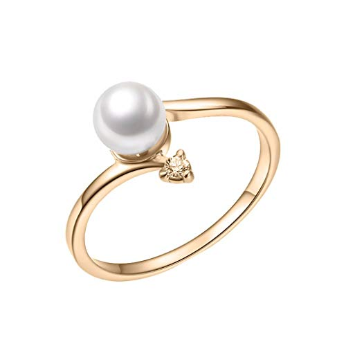 (Beppter Simple Pearl Diamond Ring,Women's Zircon Freshwater Pearl Jewelry-Gift for Her(Gold,9))