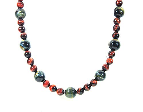 Auras by Osiris - Red and Blue Tiger Eye Beaded Necklace for Men - World Class Durability & Magnetic Clasp - Empowered Voice - Motivation - Tribal - Handmade in USA 10mm Red Jade Necklace