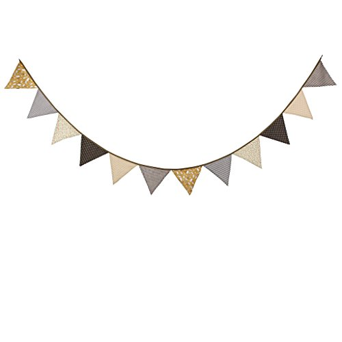 Multi Colored Fabric Bunting For Party Birthday Wedding Anniversary Celebration Baby Shower(Coffee)