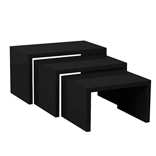 Tris Beistelltisch Tisch Niedrig H 40/35,5/31cm SP. 38mm schwarz glänzend lackiert