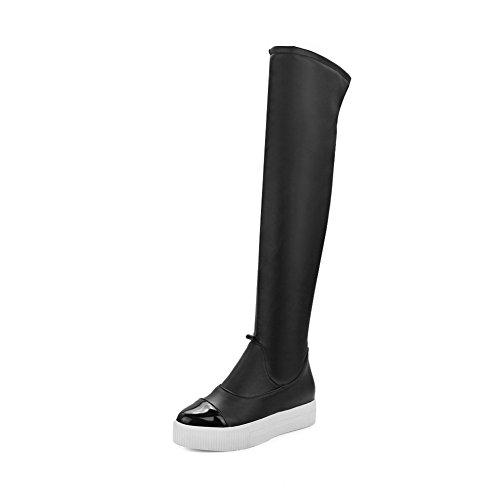 Damen Hoch-Spitze Eingelegt Ziehen auf Mittler Absatz Stiefel, Schwarz, 37 VogueZone009