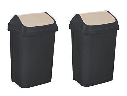 2 x bidone della spazzatura INCURVATO STO 25 L GRAFITE/Crema ' SWANTJE Bidone delle immondizie COPERCHIO Oscillante keeeper