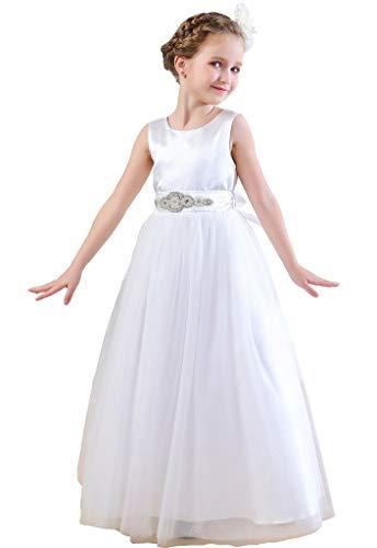 - Bow Dream Flower Girl's Dress Satin Tulle White 4T
