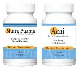 Acai gratuit, 500mg, 90 capsules w / Muira Puama Extrait Libido Potency Wood Supplément 500 mg, 60 gélules - Approuvé par le Dr Ray sahélienne, MD