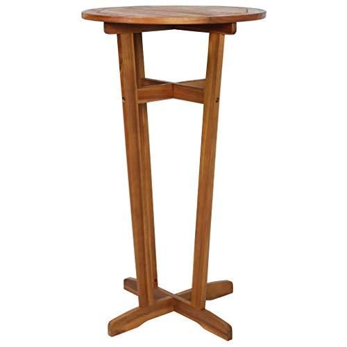 Tidyard Bar Table Bistro Indoor/Outdoor Weather-Resistant Solid Acacia Wood Dimensions: 23.6inchx 41.3inch (Diameter x H)