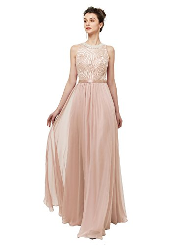Dress Chiffon Prom Silk (CuteShe Women's Silk Chiffon Prom Dresses Beaded Long Evening Dress Formal Gown Champagner Size 12)