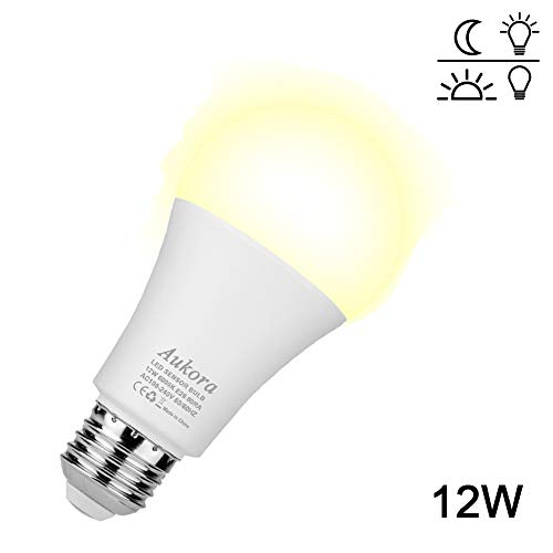 Dusk to Dawn Light Bulb, Security Sensor LED Light Bulb, 12W (100-Watt Equivalent), 3000K, 1000LM, Auto On/Off Led Bulb Outdoor/Indoor for Porch Patio Garden(Warm White, 1 Pack) (Lightbulb Sensor Outdoor)