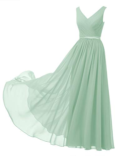 Alicepub V-Neck Chiffon Bridesmaid Dress Long Formal Gown Party Evening Dress Sleeveless, Mint Green, US8